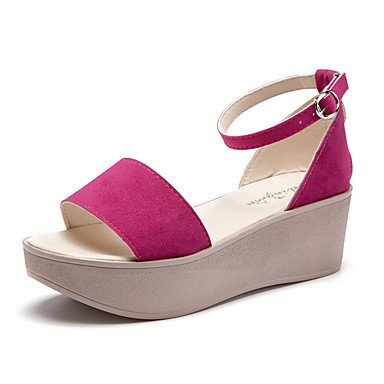 RUGAI-UE Moda de Verano Mujer sandalias casuales zapatos de tacones PU Confort caminar al aire libre,Almendros,US4-4.5 / UE34 / REINO UNIDO2-2.5 / CN33 Red