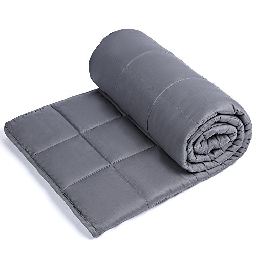 Anjee Weighted Blanket - Premium Various Heavy Blankets for Great Sleep | 100% Cotton Material with Glass Beads (48 x 72 Inches, 15 lbs for 130-150 lbs Individual, Grey)