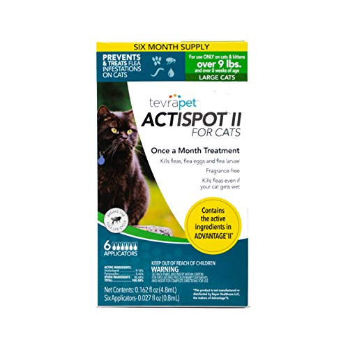 TevraPet Actispot II Flea Prevention & Treatment for Cats - Topical - for Cats Over 9 Lbs (Best Topical Flea Treatment)