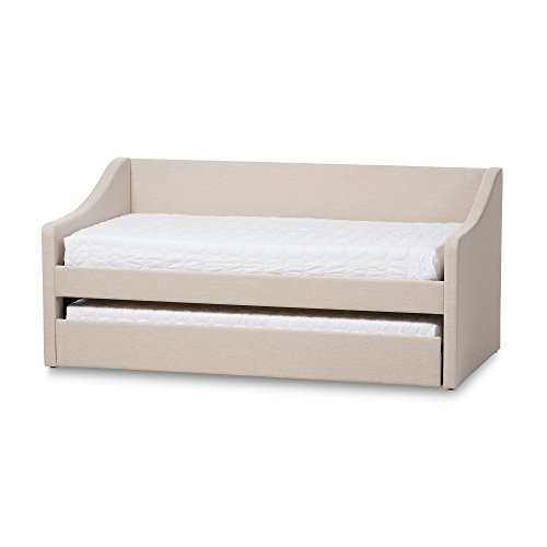 Baxton Studio Cera Fabric Upholstered Daybed with Guest Trundle Bed, Twin, Beige