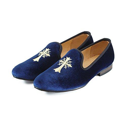 Annata Velluto Ricamo Nobile Nero Blu Mocassino Loafer Slip Uomo Journey Pantofole West Scarpe Per blu Fumatori Croce on rosso fxqwXpttE