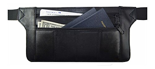Genuine Real Leather Travel Organizer Bum Bag Hide Money Waist Belt Fanny Pack from Unknown