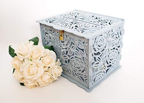 Premium Card Box Holder (Grey) Baby Shower/Wedding/Birthday Party/Decorative Wooden Boxes - Wood Locking Card Box - Rustic Storage Decoration With Lock - Anniversary Decorations - Card Holder Lock Box