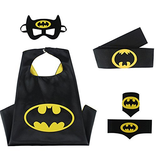 Superhero Cape Costumes Bundle – 4 Items – 1 Cape – 1 Mask – 1 Waistband – 2 Wristbands – Great for Kids Birthday Party , Halloween , pretend play parties , Christmas (Batman)
