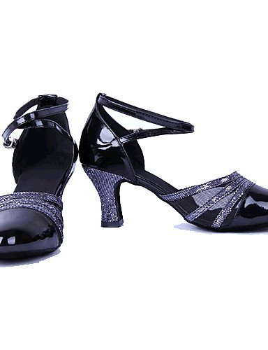 Leatherette Womens Gold Gold ShangYi Heel Silver Leather Latin Shoes Dance Non Customizable Black Chunky 0RWwEq6A