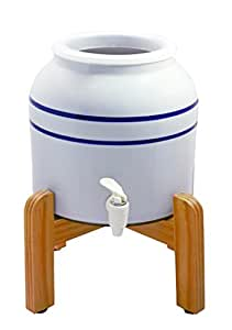 New Wave Enviro Porcelain Dispenser with Wood Counter Stand, Blue Striped