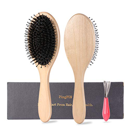 Hair Brush-Boar Bristle Hairbrush for Long,Thick,Curly,Wavy,Dry or Damaged Hair, Avoid Tangles and Hair Frizz, Keep Your Hair Smooth and Healthy by PingPIN