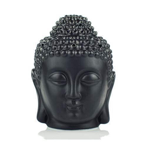 Backflow Incense Burner Ceramic Buddha Incense Holder Aromatherapy Home Decor Buddhist Censer (Color : Black)