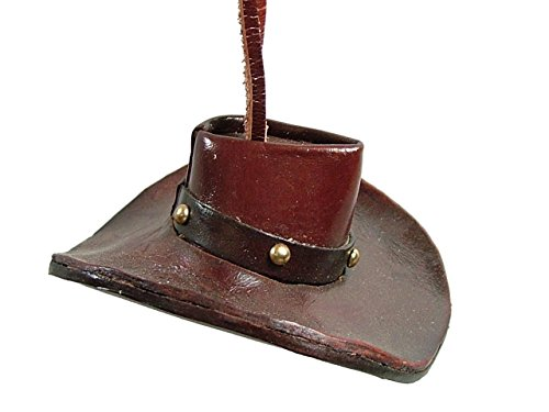 Brown Real Leather Western Cowboy Hat Rope Horse Ridding Christmas Tree ()