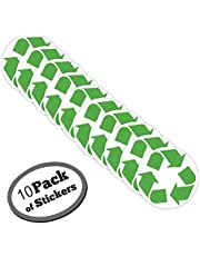 Large Recycle Symbol Sticker for Green, White, Recycling Bins & containers for Recycled Plastic, Paper, Cardboard, Trash, Glass, Bottles, Aluminum cans and Newspaper recyclables (10)