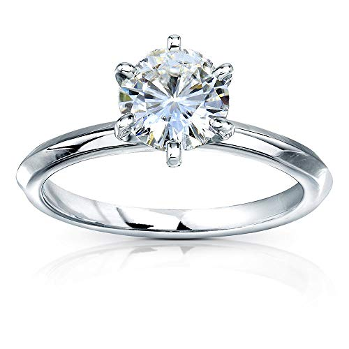Classic Solitaire Round Brilliant Moissanite Engagement Ring 1 Carat 14k White Gold (HI, VS), 5 14k White Gold Six Prong