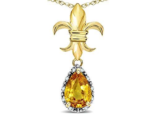 Pear Shape Citrine Necklace - Star K Pear Shape 8x6mm Genuine Citrine Fleur De Lis Pendant Necklace 14k Yellow Gold