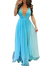 Women Deep V Summer Long Maxi BOHO Evening Party Dress Beach Dresses Sundress