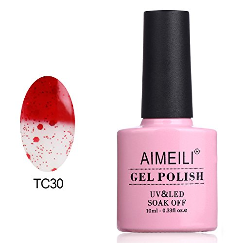 AIMEILI Soak Off UV LED Temperature Color Changing Chameleon Gel Nail Polish - Glitter Red to Transparent (TC30) 10ml ()