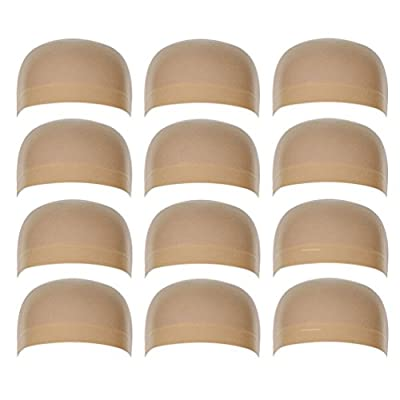 12 Pack Nylon Wig Caps for Women and Men Elastic Stretchy Close End Stocking Wig Caps Neutral Nude Beige