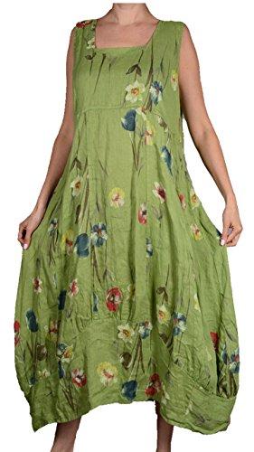 zipfel Sommer XXL Leinen Blumen 46 XL Pure Damen L Urlaub Tunika Kleid assymetrisch Strand 44 Rot Lagenlook 48 Maxikleid 50 qBEtwAx