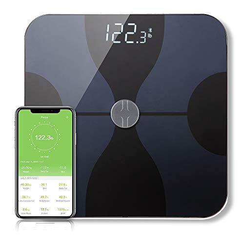 Bathroom Smart Scale Analyzer, Fat Scale Digital Bathroom Weighing - Wireless Smart Body Scale Composition Monitor Compatible Weight, Fat, Water, BMI, BMR, Muscle Mass with App Tracker (Wineglass)