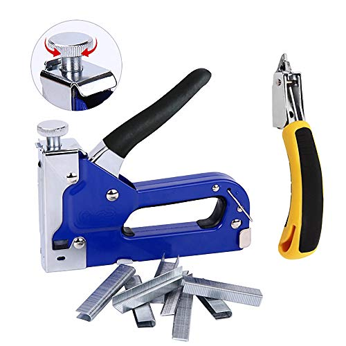 3-in-1 Staple Gun, Upholstery Stapler, Heavy Duty Powercrown Tacker Hand Operated Stainless Steel Brad Nail Gun, Tool for Fixing Material, Carpentry, Furniture, Doors And Windows, 1050 Staples Attache