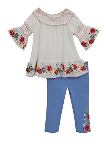 Rare Editions Rose Embroidered Pheasant Gauze Top and Capri Legging Set-Size 24 Months