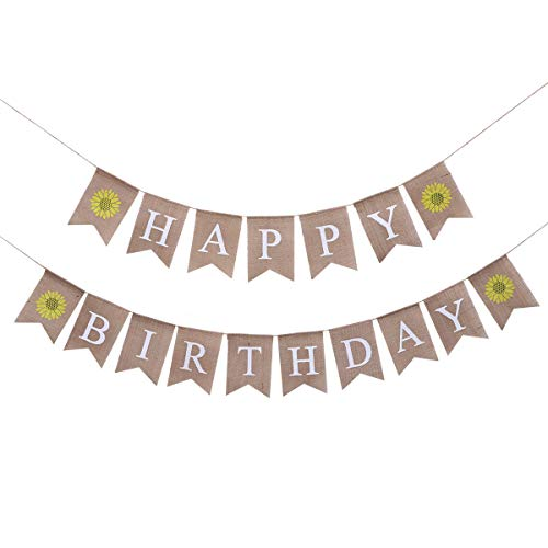 Happy Birthday Pull - Amosfun Birthday Bunting Banner Decorative Burlap Banner Happy Birthday Letters Sunflower Pattern Linen Swallowtail Pull Flag Party Supplies