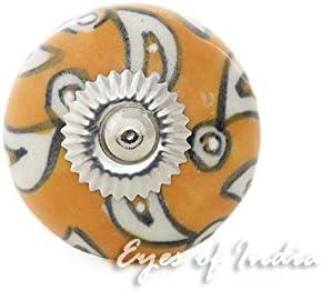 Naranja #13 Naranja Cer/ámica Armario Puerta Armario C/ómoda Pomos Tiradores Decorativo Shabby Chic de Colores Boho Bohemio Adorno Hecho a Mano Set of 2 Eyes of India