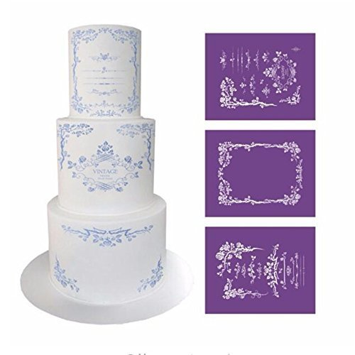 3Pcs/lot Elegant Flower Lace Stencil for Cake Design, Fondant Wedding Cake Mesh Stencil, Lace Mold Fabric Stencils Cake Decorating Baking Tools, Cake Lace Side Plastic Stencil, Cake Side Lace Stencil by VAlink