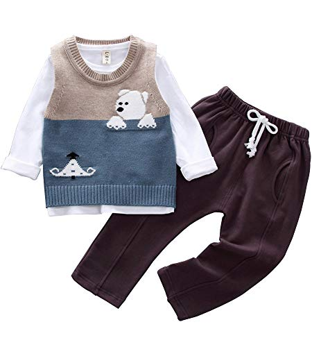 Baby Boys Toddler Kids 3 Pieces Clothing Set Sweater Vest+T-Shirt+Pants Outfits(Bear Blue,XL) (Sweater Piece Vest 3 Shirt)