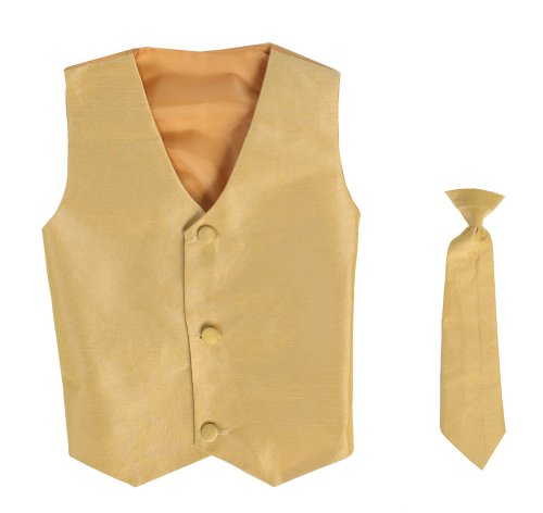 Vest and Clip On Boy Necktie set - GOLD - 4/5