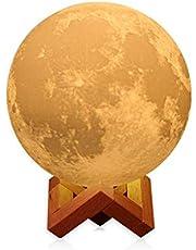 مصباح القمر ثلاثي الأبعاد 20 سم مصباح LED ليلي 3 ألوان متغيرة للاهتزاز والتحكم في الصنبور مصباح رمضان للزينة