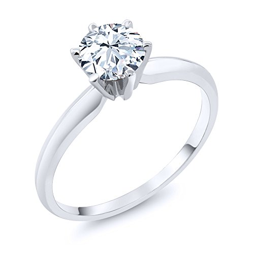 1.20 Ct Hearts And Arrows White Created Sapphire 14K White Gold Engagement Solitaire Ring (Available in size 5, 6, 7, 8, 9) by Gem Stone King
