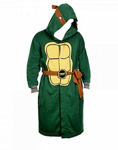 TEENAGE MUTANT NINJA TURTLES Mens Hooded Fleece BATHROBE With Belt - Size Small/Medium (Robe Mens Ninja Turtles)