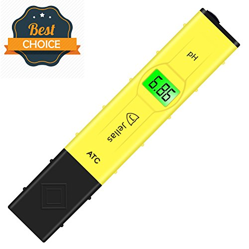 Jellas Pocket Size pH Meter Digital Water Quality Tester for Household Drinking Water, Swimming Pools, Aquariums, Hydroponics, pH Measurement for 0-14.0 pH (Yellow - pH Tester with ATC) -