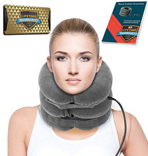 Cervical Neck Traction | Air Neck Therapy | Adjustable Neck Stretcher Collar Device | Cervical Collar for Neck Support and Decompression - Neck Pain Relie (Grey)