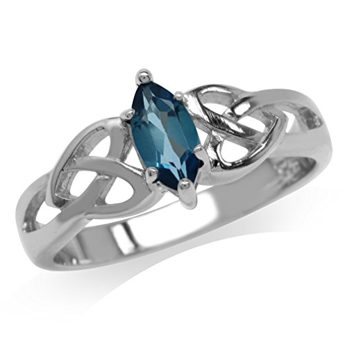 Genuine London Blue Topaz 925 Sterling Silver Celtic Knot Heart Ring Size 8.5