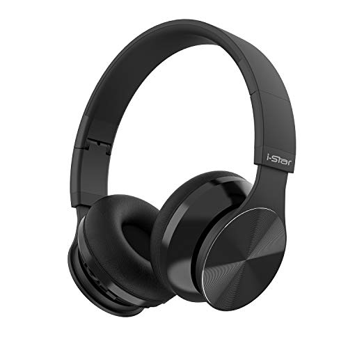 i-Star Bluetooth Headphones Over Ear, Stereo Wireless Headset, Foldable, Soft Memory-Protein Earmuffs, w/Built-in Mic and Wired Mode for PC/Cell Phones/TV, Black