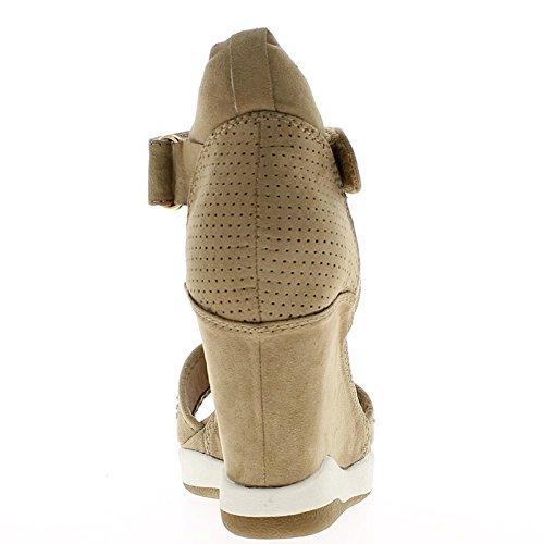 Mole de zapatillas cuña levantamiento abierto a tacón de 8cm