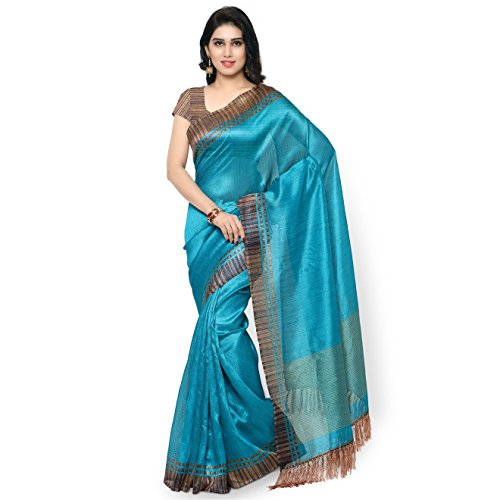 Rajnandini Women's Tussar Silk Stripes Printed Saree(JOPLNB3004_Teal Blue_Free (Stripe Saree)