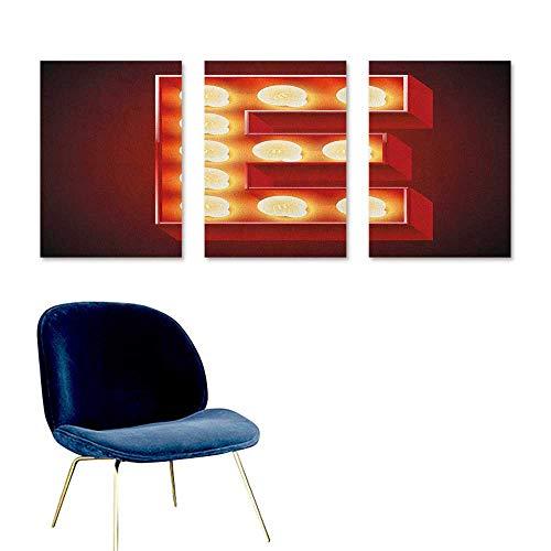 (Letter E Canvas Print Artwork Nightclub Inspired Alphabet Font Design Casino Gambling Theme Image Easy Care Oil Painting 3 Panels 24x35inch Vermilion Yellow Black)