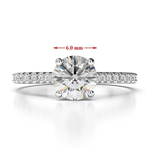 Or blanc 18 carats 1 CT G-H/VS sertie de diamants Saphir de coupe ronde et bague de fiançailles Agdr-1213