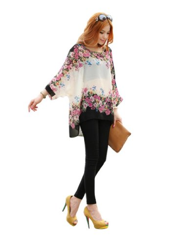 Vobaga Women's Bohemian Plus Size Dolman Sleeve Chiffon Batwing Floral Blouse