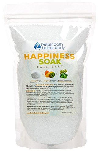 Happiness Bath Salt - Pure Epsom Salt With Wintergreen & Bergamot Essential Oils & Vitamin C - Aromatherapy To Inspire Happy Feelings - 100% All Natural No Perfumes No Dyes