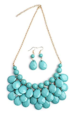Riah Fashion Women's Turquoise Beaded Bubble Bib Chunky Statement Pendant Necklace Set (Womens Chunky Jewelry)
