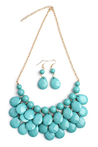 Riah Fashion Chunky Acrylic Jewel Cluster Floating Bubble Statement Necklace - Teardrop Dangle Layered Bib Collar (Turquoise) ()