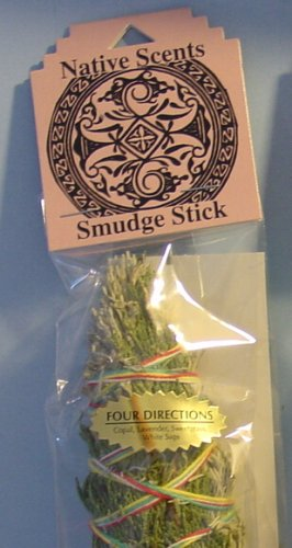 Four Directions - Copal, Lavender, Sweetgrass & White Sage - 9 Inch Smudge Stick - Native Scents