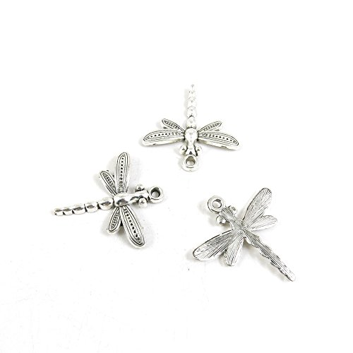 10 Pieces Antique Silver Tone Jewelry Making Charms I3MX2 Dragonfly Pendant Ancient Findings Craft Supplies Bulk Lots (Dragonfly Charm)