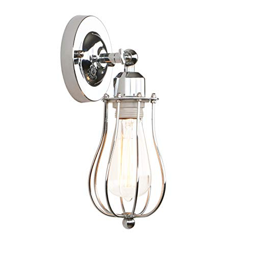 (Permo Industrial Vintage Metal Wire Cage Wall Sconce Lighting Fixture Ceiling Mount Light)