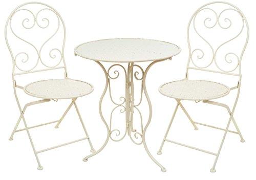 east2eden Cream Metal Folding 2 Seater Patio Bistro Garden Chair Seat & 60cm Table Set