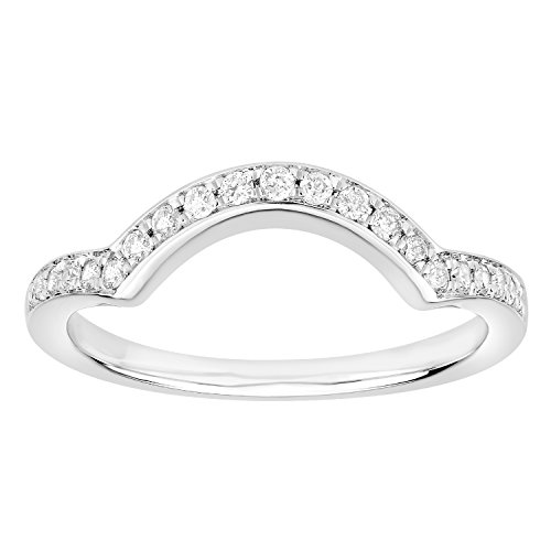 1/5 cttw (I-J) (I2-I3) Diamond 10k Gold Ladies Anniversary Wedding Stackable Band Guard Ring (white-gold, 5.5) by eSparkle