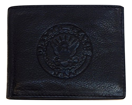 US Armed Forces Collection Mens Genuine Leather Wallets - Gift Boxed (US Navy Bi-Fold, Black)