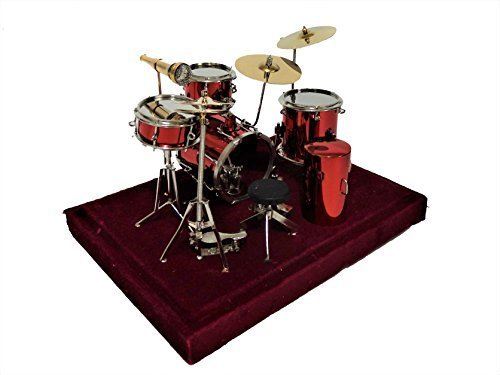 Melody Jane Dollhouse Red Drum Kit Set Miniature Music Room Pub Furniture 1:12 by Melody